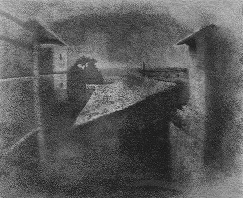 Earliest surviving photograph of a real-world scene, made in 1827, using a camera obscura by Niepce