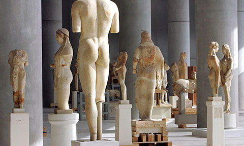 Statues at the Acropolis Museum in Athens